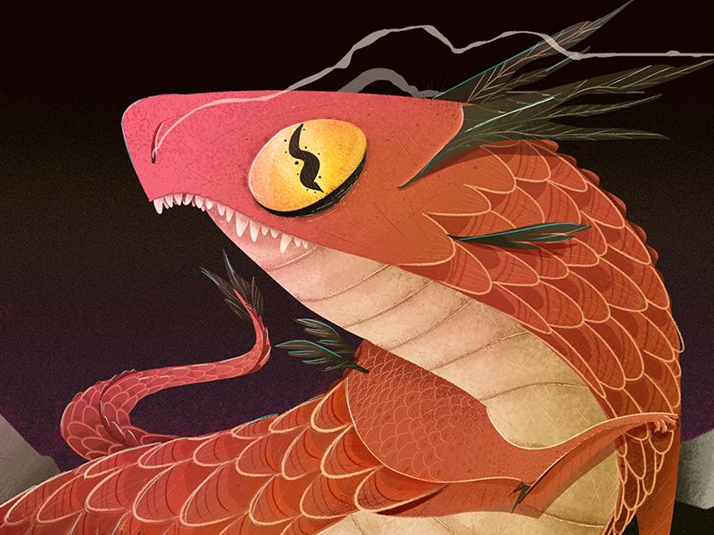 Dragoon magenta red character photoshop psd illustration dragon