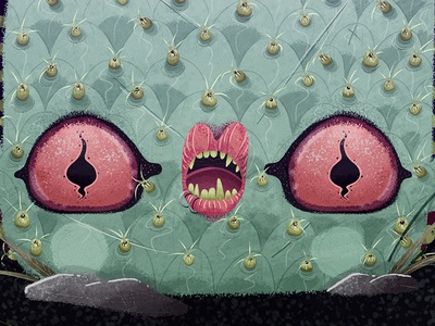 BIZNAGA CACTO mouth eyes green character desert biznaga cactus