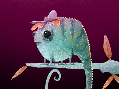 Gussi fall tree cap boy lizard chameleon worm