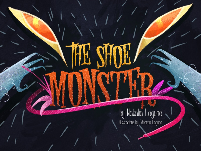 THE SHOE MONSTER logo design girl shoe eyes brushes photoshop illustration monster