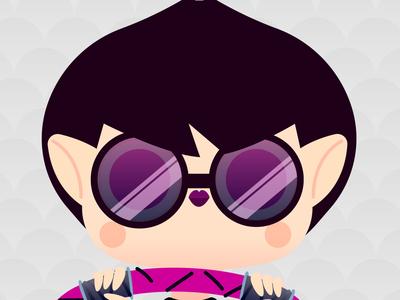 Gothica Flames bat purple glasses emoji illustration art cute vampire goth flat 2.0 vector happy girl illustration gothic