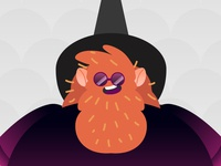 Magico illustration art happy fat wizardry brujo cosmic redhair orange beard flat  design flat 2.0 obscure magician hat wizard
