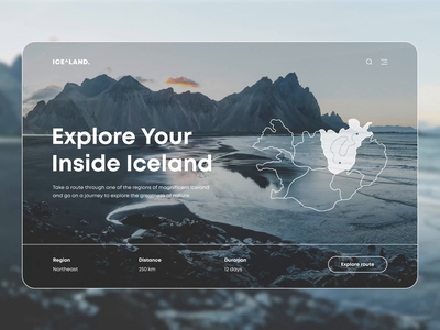 Travel Web App iceland interface grid webdesign booking minimap map animation travelling travel web ui ux
