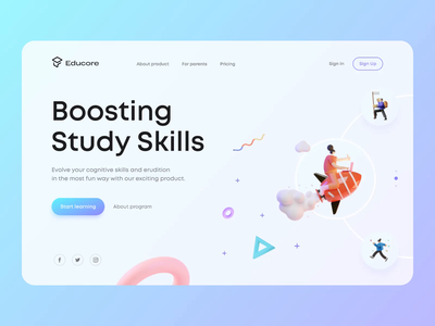 Educational Web App landing clean typography layout animation web ux interface ui