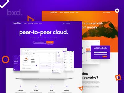 Boxdrive – main landing pages layout p2p peer to peer storage cloud landing