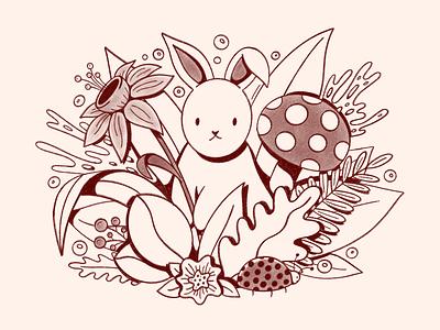 Spring Sketch procreate sketchbook animals garden magical cute concept illustration drawing sketch mushroom leaves nature rabbit bunny spring