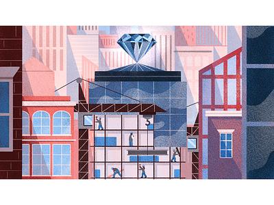 Diamond in the Rough construction procreate texture cityscape building diamond city editorial illustration illustration