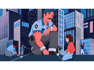 Security! security guard editorial illustration cityscape city man procreate texture