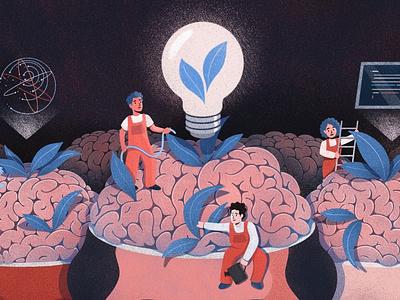 Brains! procreate editorial art editorial illustration garden tiny people texture illustration lightbulb ideas head brainy