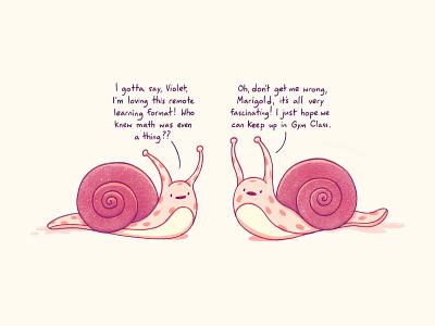Snail School texture school cute procreate illustration