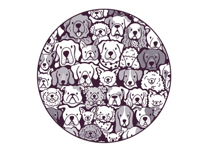 Pup Pile design illustration linework procreate t-shirt cute