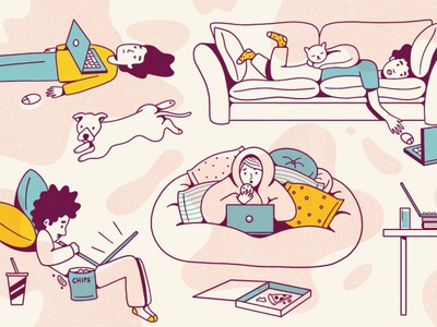 Work At Home pizza pillow fort tbrandstudio tbrand hp remotework wfh work from home couch potato couch texture cute editorial illustration procreate illustration