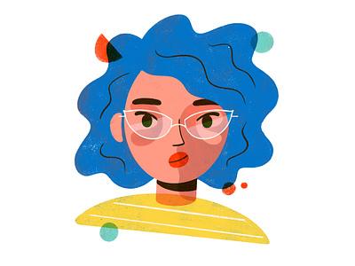 Fuzzy Gal doodle glasses colorful woman texture geometric geometry portrait illustration illustrator procreate