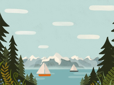 Puget Sound water sky calming washington state seattle pacific northwest forest boats mountains texture procreate illustration