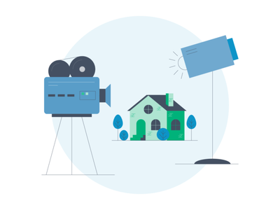 Lights, Camera, House! house movie camera editorial illustration moving illustration