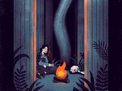 Campfire nature night smoke campfire fire flame trees forest woods camping dog lady texture frame animation animation framebyframe procreate illustration