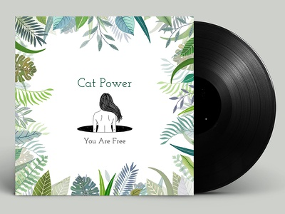 Cat Power Album Mock Up line drawing cat power indesign typography type gouache painting illustration mockup album record