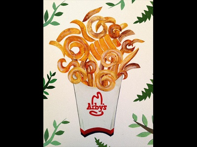 Arby's in the Wild mixed media french fries curly fries paper art paper cutout fries illustration paper watercolor
