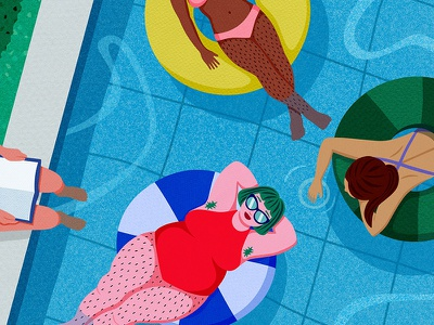 Pool Party Detail lazy day lazy summer body hair hairy legs magazine cover cover illustration summer paper art illustration women pool party pool