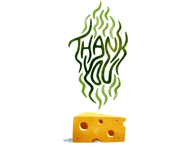 Deliciously Smelly Gratitude food photoshop texture swiss cheese thank you stink lines stinky cheese typography type hand lettering design illustration