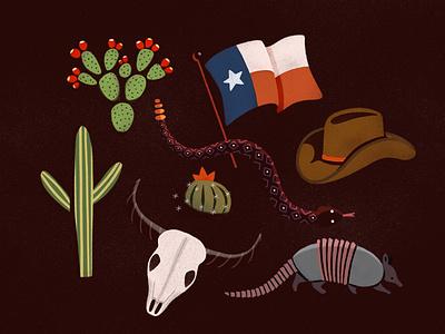 Desert Illustrations lone star southwest cowboy texas rattlesnake snake armadillo skull longhorn prickly-pear cactus desert