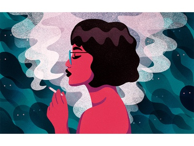 PTSD texture teal pink marijuana editorial illustration ptsd mental health smoke woman illustration