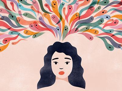 Anxiety mental health editorial illustration illustration anxiety