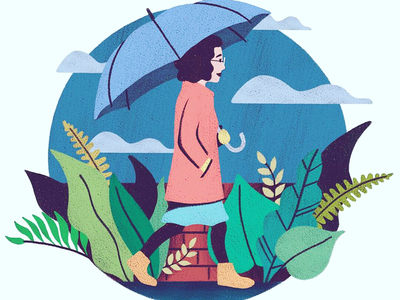 Rainy Day in Portland digital illustration pnw pacific northwest rainy day portland procreate illustration