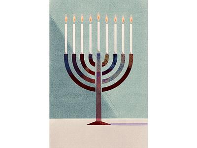 Hanukkah procreate illustration december lights menorah hanukkah