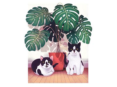 Kitties procreate illustration plant kitties cat cats