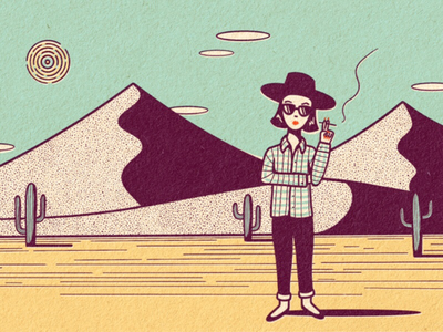 Accidental Tourist newsprint comic vintage retro lady illustration desert