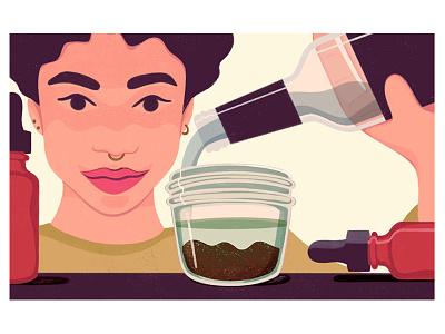 Tinctures tincture cannabis procreate woman editorial illustration illustration