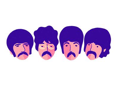 The Beatles! mustaches procreate illustration portrait music the beatles beatles