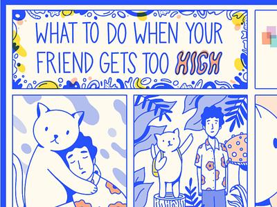 Friends layout design comix comics procreate typography type infographic kitty cat marijuana high comic graphic illustration cute