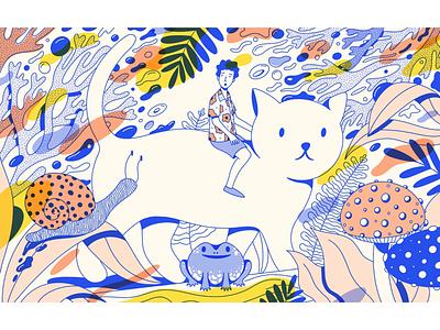 Time of wonder man procreate detail cute overlay line work flat illustration kitty cat illustration