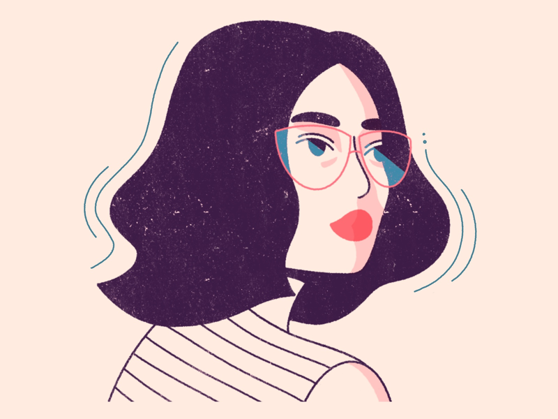 Glasses lines illustration minimal simple texture glasses lady woman