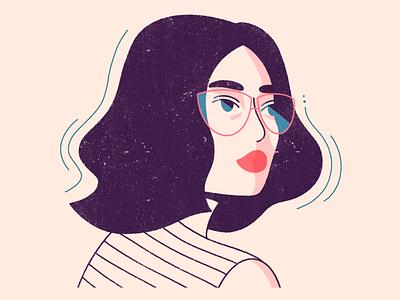 Glasses lines illustration minimal simple texture glasses lady woman