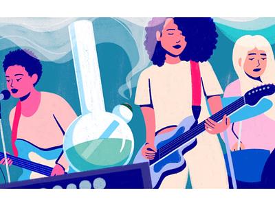 Girl Band Redux editorial illustration bong girl band women band music illustrator illustration