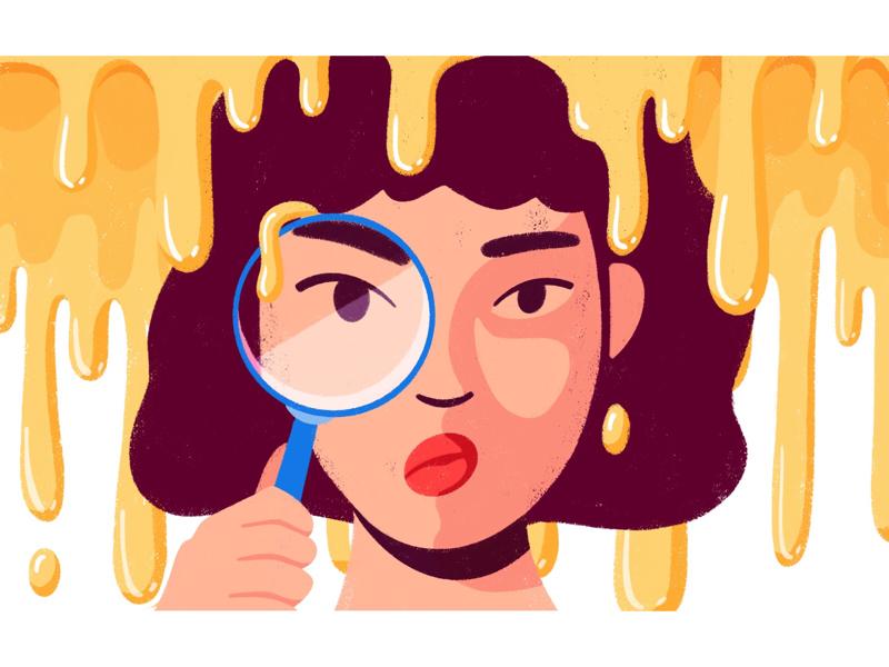 Not Pee globs blobs drops drips glass magnifier woman liquid oil editorial illustration illustration
