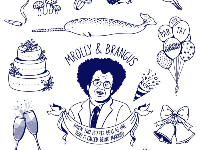 Temporary Tattoos steve brule temporary tattoos marriage neil young narwhals love party wedding copy writing procreate flat illustration design illustration