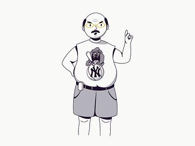 Long Island looney toons 2000s angry man new york long island portrait flat illustration graphic novel comics comic illustration