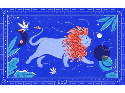 The Lion horoscope celestial procreate overlay texture editorial illustration cannabis leo astrology illustrator illustration