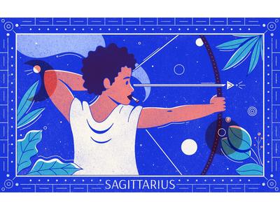 The Archer editorial illustration procreate texture archer sagittarius celestial horoscope stars zodiac astrology joint marijuana cannabis leafly illustrator illustration