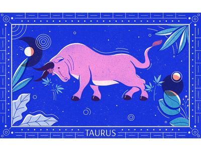 The Bull geometric editorial illustration horoscope marijuana cannabis celestial texture procreate illustration zodiac astrology taurus bull