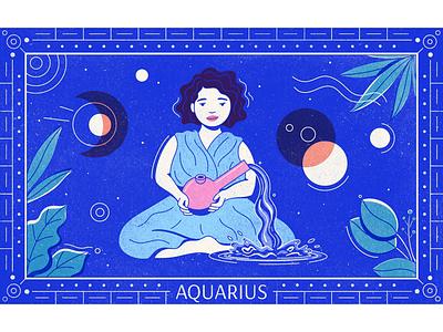The Water Bearer cannabis woman type texture editorial illustration liquid geometric illustration bong aquarius astrology zodiac horoscope horoscopes