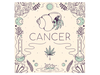 Cancer water procreate illustration cancer signs zodiac astrology hermit crab crab marijuana cannabis leafly