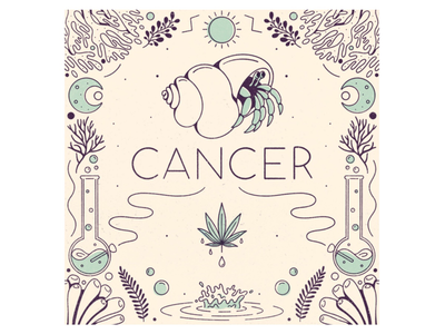 Cancer water procreate illustration cancer signs zodiac astrology hermit crab crab marijuana cannabis leafly