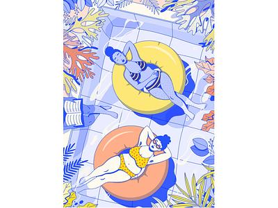 Pool Ladies 2.0 women procreate water pool summer editorial illustration illustration