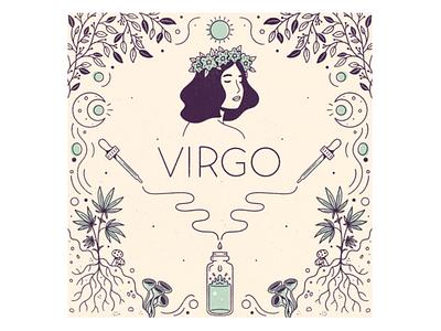 Virgo virgo horoscope zodiac star sign signs procreate leafly astrology illustration