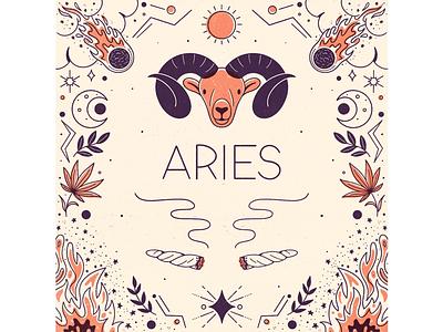 Aries procreate leafly cannabis ram horoscope marijuana fire astrology zodiac illustration aries